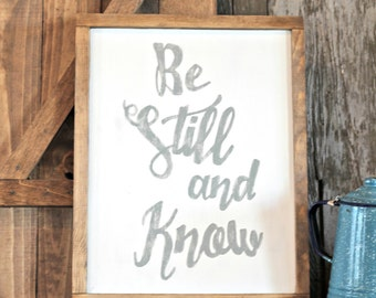 Wooden signs, Be Still and Know, Scripture Gallery Sign, Psalms 46:10, Rustic Bible verse sign