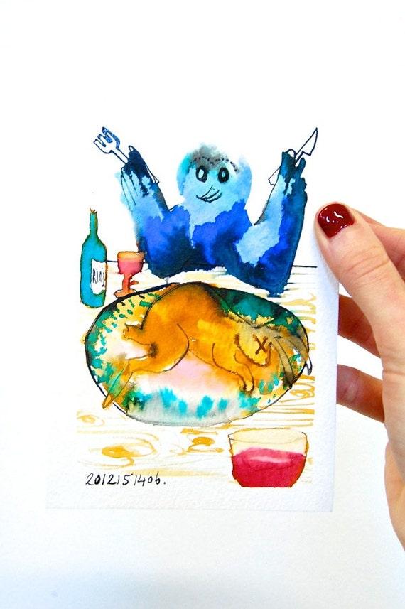 Wall Art Kitchen Decor Blue Bird Illustration Culinary