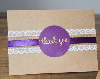 Rustic lace and burlap thank you notes