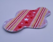 Minky Topped Cloth Pads ~ Reusable Pad ~ Cloth Menstrual Pads ~ Cloth Pads ~ Pastel Stripes and Stars ~ Rumps ~ 9.5in, 10.5in ,12.5in pad.