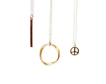 Gold Bar Pendant, Tiny Gold Peace Pendant, Gold Circle Pendant, Gold Layering Necklaces, Delicate Gold Necklace