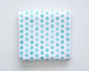 Baby Toddler Modern Fitted Minky Crib Sheet - Aqua Watercolor Polka Dots