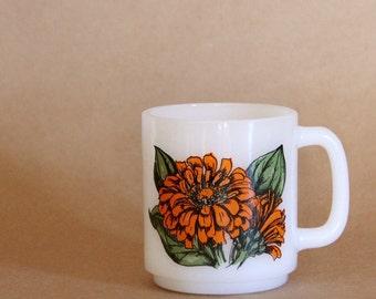 vintage GLASBAKE milk glass mug ZINNIA symbol of absent FRIENDS