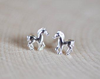 Horse Stud Earrings in Sterling Silver 925, Sterling Silver Horse Studs, Horse Earrings, Pony Earrings