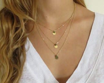Layered Necklace - Multi Layer Necklace - Triple Necklace - Set of 3 Necklaces - Gold Filled Necklace Set - Layering Necklace