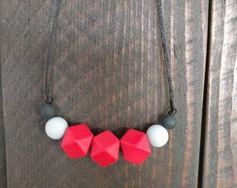 Silicone Teething Necklace/ Silicone Nursing Necklace/Teething/ Red Gray and Black Necklace