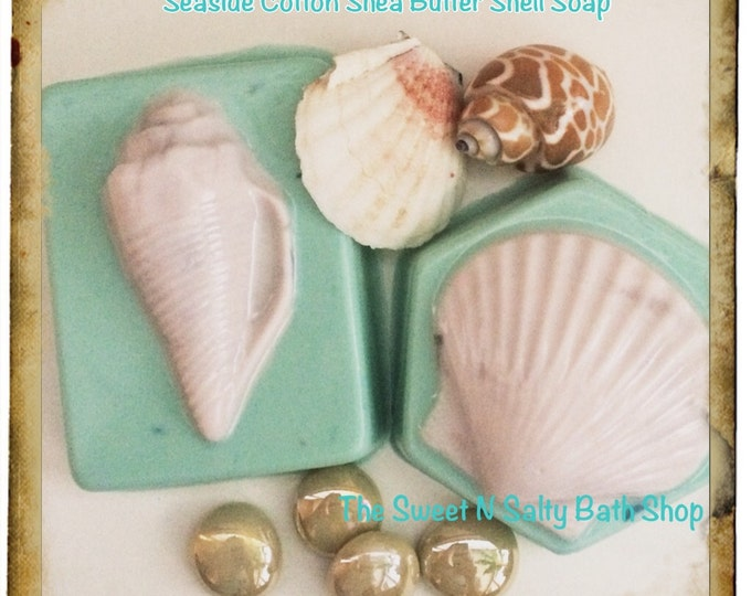 Set of Two Shell Ocean Mist/Seaside Cotton Scented Shea Butter Soaps