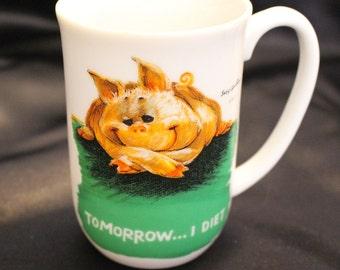"Vintage Suzy Zoo ""Tomorrow...I Diet"" Mug Childrens Mug 1976 Enesco Imports"
