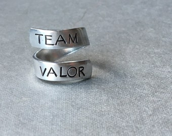 Team Valor Pokemon Inspired Ring Hand Stamped Aluminum Ring
