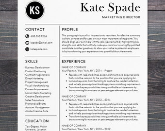 Professional Resume Template / CV Template / Mac Or PC For Word / Creative,  Modern Design / Cover Letter / Instant Download   The Kate