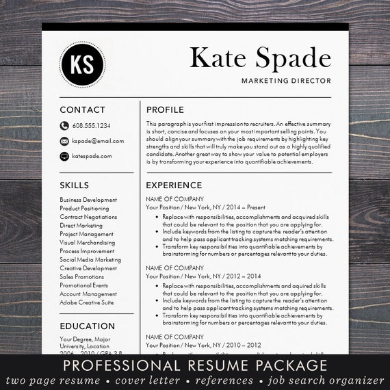 Professional Cv Resume Templates: Professional Resume Template CV Template Mac Or PC
