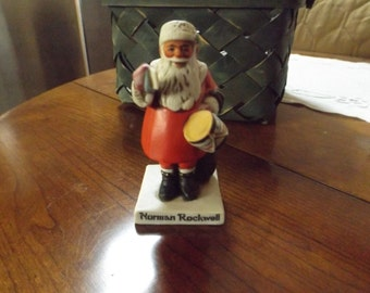 Vintage 1982 Norman Rockwell Porcelain Santa Figurine, Christmas, Collectible, Gift