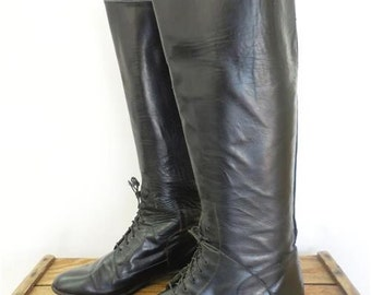 Justin Vintage Black Gloss Leather Tall Lace Up Campus Riding Boot Women 6.5 USA