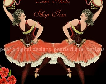 large Cover banner and shop icon set, Gypsy Tambourine Dancers, instant download, blank, lively dancers, red, blank, flared skirts, floral