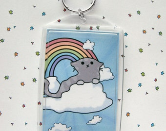 Cute Cat Keychain, Tabby Keychain, Cloud Cats, Kitty on a Cloud, Sky Keychain, Sky Cat, Cute Cat, Kawaii Keychain, Rainbow