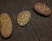 Set of Small Three Abstract Organic Acrylic Design Totem Stones in Yellow Ochre by Erin Carmean