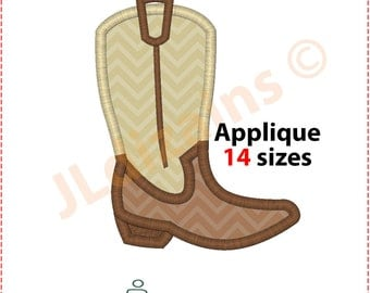 Cowboy Boot Applique Design. Cowboy boot embroidery design. Embroidery design cowboy Applique boot Cowboy applique Machine embroidery design