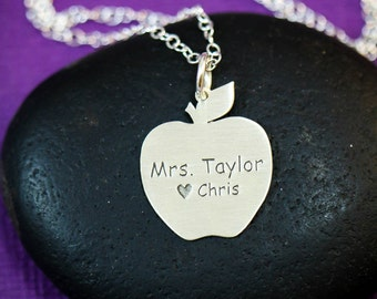 SALE - Personalized Apple Necklace - Sterling Silver Apple Pendant - Teacher Necklace - Cute Teacher Gift - Apple Charm -Back to School Gift