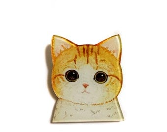 Japanese cat Ginger cat, Cute Funny Acrylic Plastic Brooch Pin Backpack Pin Geek Geeky Geekery Unique Gift Idea for cat lovers