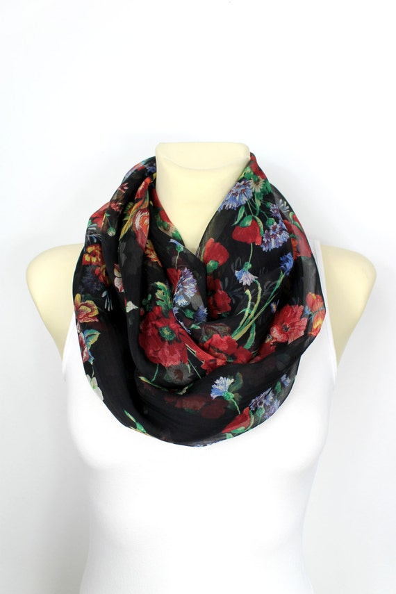 Silk Infinity Scarf Floral Silk Scarf Boho Infinity Scarf Light Scarf Gift for wife Mothers Day from Husband Daughter Spring Celebrations