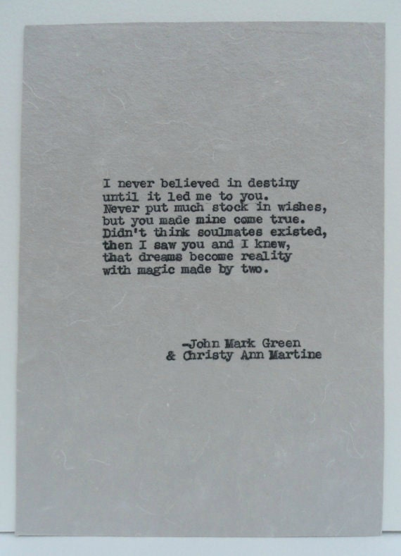 Romantic Gifts for Anniversary - Ready to Ship  - Destiny Poem - Hand Typed onto Cotton Paper by Author