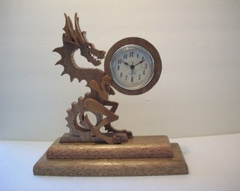 Time stealer clock, Dragon clock, wood clock, Oak and cherry dragon clock, childs clock