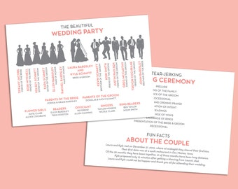 Items Similar To Fun Wedding Program Wedding Party Silhouette Template On Etsy