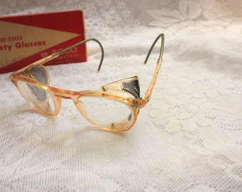 VIntage Sure Guard AOCO Safety Glasses with Mesh Sides  - Original Box - vintage safety glasses