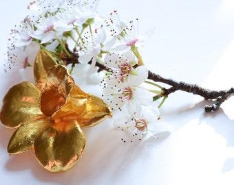 Vintage Orchid Brooch-Orchid Flower-Floral Brooch-Gold Plated Orchid Flower Brooch