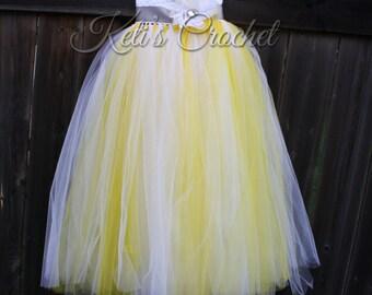 Tutu Dress,Crochet Tutu Dress,Yellow Tutu Dress,Flower Girl Dress,Yellow and White Tutu Dress,Wedding Tutu Dress,Girl Christening Dress,Prom