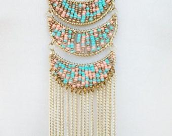 Peach, Teal and Gold Chain Cascade Long Necklace / Gold Chain Long Necklace.