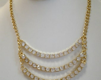 Gold Chain with Crystal Clear Beads Necklace / Bib Necklace.