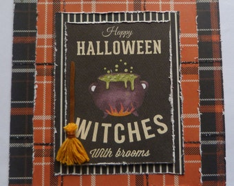 Witches Broom Card, Halloween Witch, Wicthes Cauldron Card, Witchcraft card, Handmade Halloween Card, Halloween Decor, Halloween Papercraft