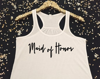 Maid of Honor Tank Top  Calligraphy Maid of Honor Tanktop  Matron of Honor Tank Top  Maid of Honor Proposal  Matron of Honor Proposal
