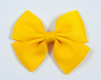 Yellow Hair Bow, Yellow Bow, Yellow Double Tuxedo Bow, Yellow Hair Clip (Item #10426)