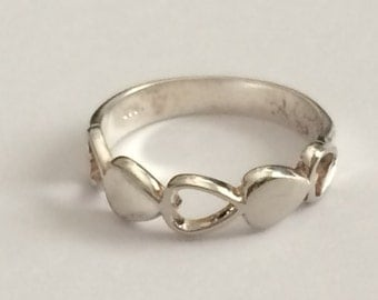 Size 5.5 Sterling Silver Open And Closed Heart Ring