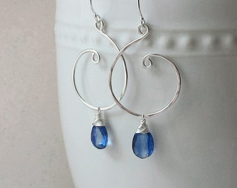 Blue Kyanite Earrings, Sterling Silver Earrings, Silver Swirl Kyanite Earrings