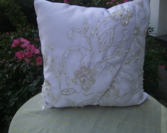 "white Satinpillow - Pearlpillow - Weddingpillow - 16""x16"" - decorative Pillow - handmade Pillow - homedecor - Boho Pillow"
