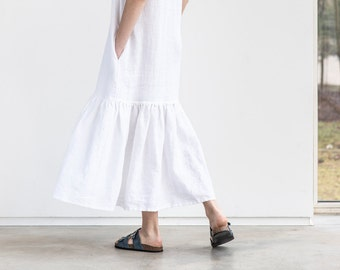 Drop ruffle maxi linen dress. Washed and soft linen dress in white