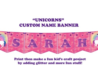 UNICORNS - Decorating this with glitter makes a fun kids craft project!  A personal banner for your little one... PURE JOY!