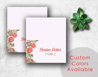DIY Printable Wedding Name Place Cards PDF - Vintage Brown Floral Design in Coral Grapefruit (or Your Choice in Colors!) (3.5X2 Folded)