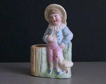 "Vintage 4"" Porcelain Bisque Flower Vase for Small Bouquet or Posey of Forget Me Not Flowers 