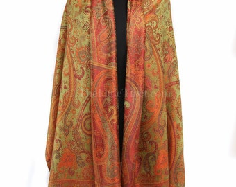 Silk Pashmina scarf/shawl/stole/wrap,  100% silk in green with orange details (MCL141). Free UK Shipping