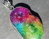 Genuine Rainbow Solar Druzy Agate Pendant set in 925 Sterling Silver with FREE SHIPPING and FREE Sterling Silver Necklace Great Gift