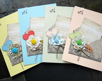 Love Postcard Set, I love you postcards, love letter, Thinking of you, hearts and flowers, dimensional, set of 4 postcards