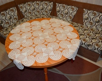 Crochet Tablecloth Cotton Handmade Ivory Square 100 Cm, 40 Inches In Ivory  Color. Suitable