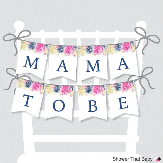 printable beach themed baby shower chair banner mama to be mama