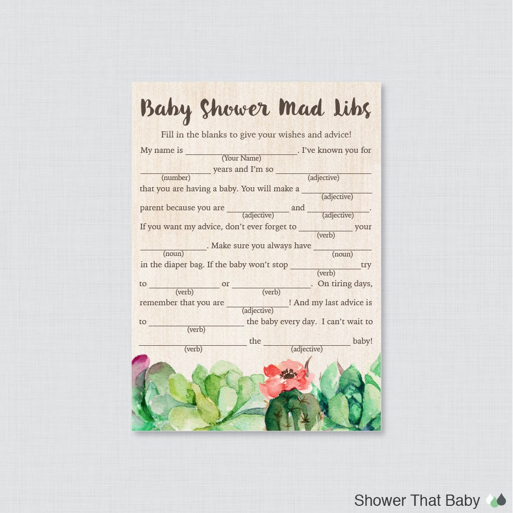 Succulent Baby Shower Mad Libs Printable Baby Shower Advice