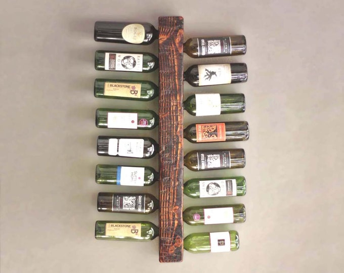 Wall Mounted Wine Rack, 16-Bottle Vertical Wine Display, Wood Rustic Wine Rack