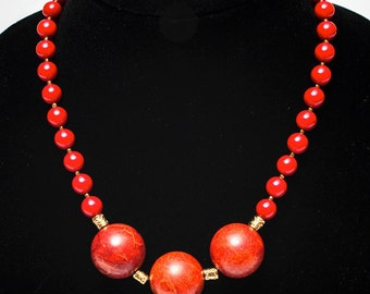 Red coral necklace, statement necklace, red necklace, red coral and gold necklace